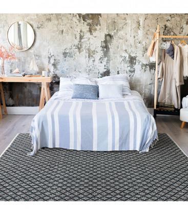 Tapis blanc/noir en coton croisillons grande taille - Impression Lin