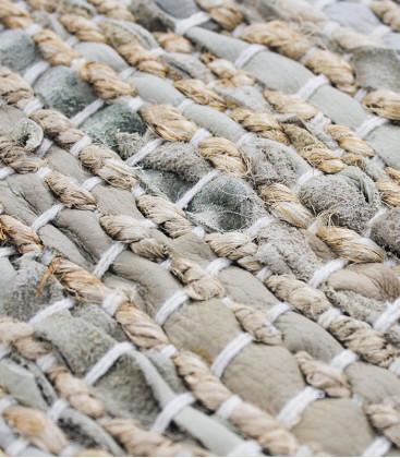 Tapis tressé en jute et cuir 160x230 - Impression Lin