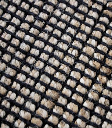 Tapis blanc/noir en coton géométrie grande taille - Impression Lin