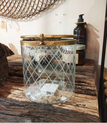 Bocal en verre sérigraphiée vintage