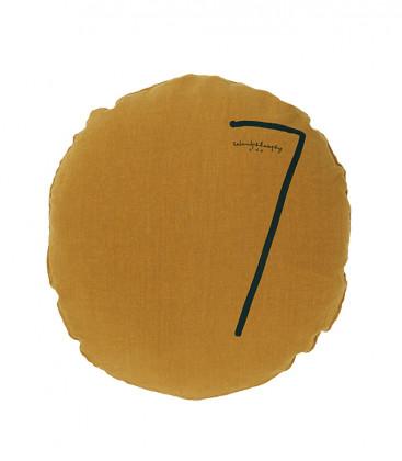 SHINING TYPO S Housse de coussin rond numéroté en lin - Butternut