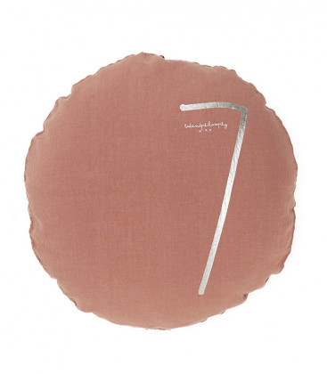 SHINING TYPO S Housse de coussin rond numéroté en lin - Rosebud