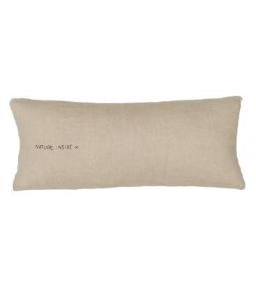 SMOOTHIE Coussin rectangulaire 30x70 en lin et message imprimé - Naturel