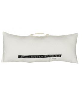 SMOOTHIE Coussin rectangulaire 30x70 en lin et message imprimé - Milk