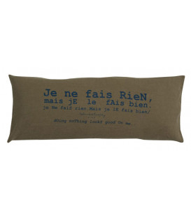 SMOOTHIE Coussin rectangulaire 30x70 en lin et message imprimé - Kaki