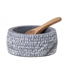 Helios Bowl w/Spoon, Grey, Granite - Bloomingville