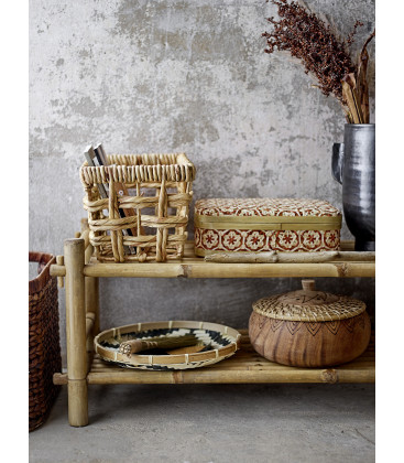 Dy Dy Basket w/Lid, Red, Bamboo - Bloomingville