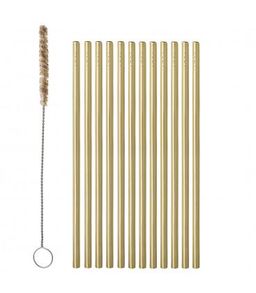 Mendi Mendi Straw & Brush, Gold, Stainless Steel - Bloomingville