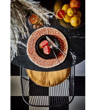 Set de Table Rond en Jute Naturel/Orange - ELINA - Affari
