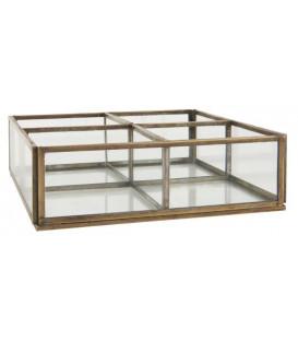 Boîte en verre bord laiton 4 compartiments