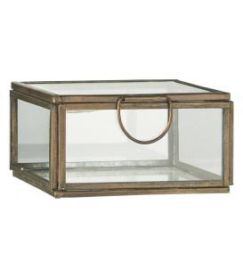Boîte en verre carrée bord laiton