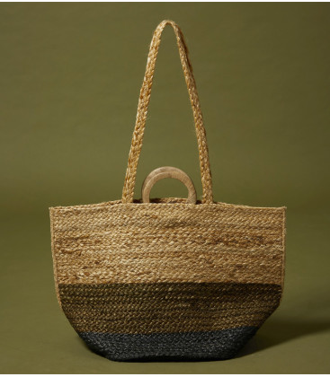 Panier en jute - Olive/charcoal