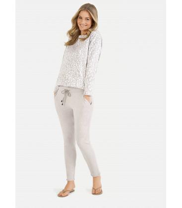 Pantalon fit - Beige melange