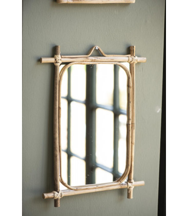 Miroir rectangulaire bambou - 26,5 x 20,5 cm - IB Laursen