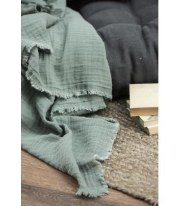 Nappe double gaze de coton dusty CHALK GREEN - IB LAURSEN