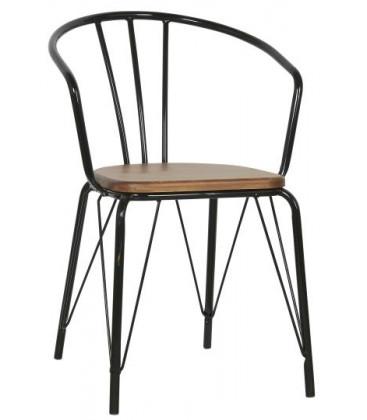 Chaise en métal assise en bois - IB LAURSEN