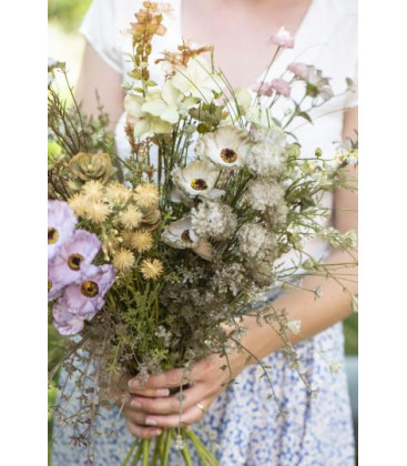 Fleurs tons blanc/vert