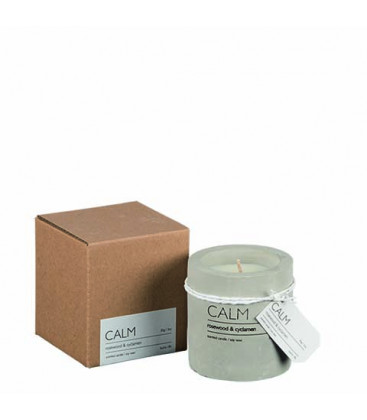 CALM Bougie parfumée Ø6xH7 cm - Bois de Rose Cyclamen - AFFARI