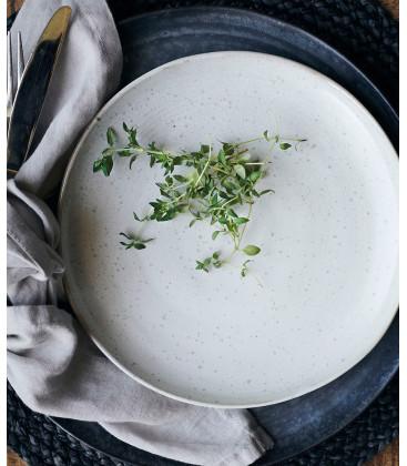 Assiette à Déjeuner PION GRISE/BLANCHE - Diam 21,5 cm - HOUSE DOCTOR