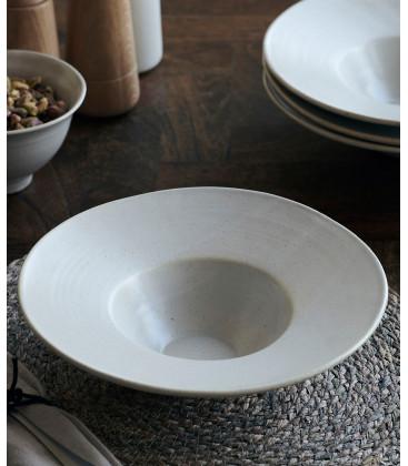 Assiette à Pâtes PION GRISE/BLANCHE - Diam 25 cm - HOUSE DOCTOR