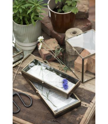 Boîte en verre bord laiton fond zinc L: 12,5 H: 3 L: 29,5 - IB LAURSEN