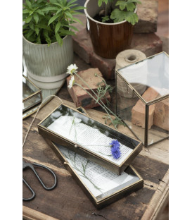 Boîte en verre bord laiton fond zinc L: 10,2 H: 2,8 L: 25 - AFFARI