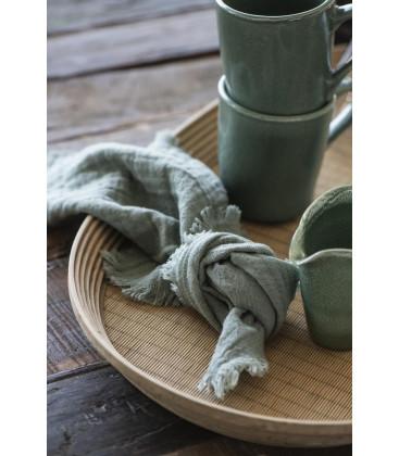 Serviette double gaze de coton Dusty Chalk GREEN - IB LAURSEN