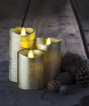SET DE 3 BOUGIES SARA LED GOLD