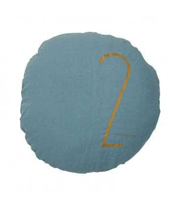 SHINING TYPO S Housse de coussin rond numéroté en lin - Minéral - BED AND PHILOSOPHY