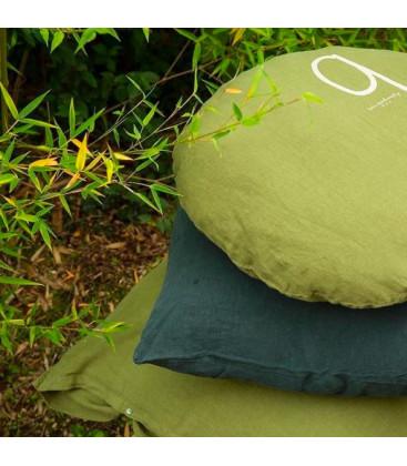 SHINING TYPO S Housse de coussin rond numéroté en lin - Jungle - BED AND PHILOSOPHY