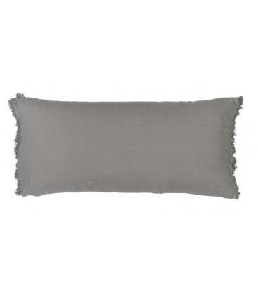 LOVERS FRANGE Coussin 55x110 en lin frangé - Orage - BED AND PHILOSOPHY