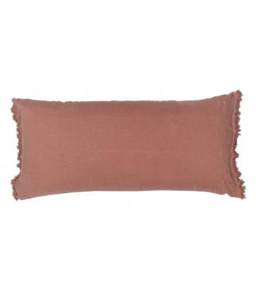 LOVERS FRANGE Coussin 55x110 en lin frangé - Rosebud - BED AND PHILOSOPHY