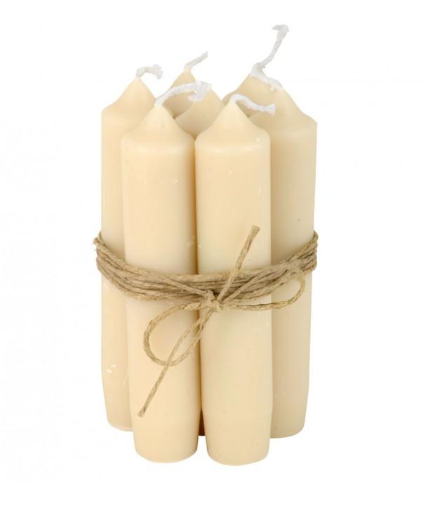 Lot de 7 petites bougies crème