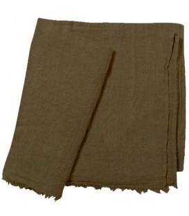 WARMY UP Plaid épais frange lin 150X180 Kaki - BED AND PHILOSOPHY