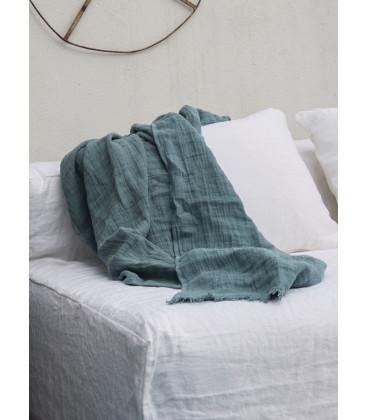 WARMY UP Plaid épais frange lin 150X180 Minéral - BED AND PHILOSOPHY