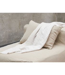 WARMY UP Plaid épais frange lin 150X180 Plume - BED AND PHILOSOPHY