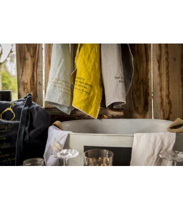 COOK Torchon lin en bocal 45X65 Kaki - BED AND PHILOSOPHY