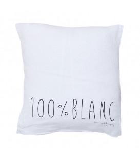 MOLLY Coussin 35x35 en lin imprimé - Blanc