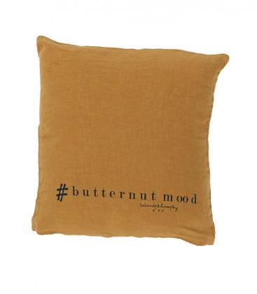 MOLLY Coussin 35x35 en lin imprimé - Butternut - BED AND PHILOSOPHY