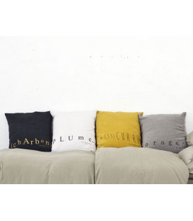 MOLLY Coussin 35x35 en lin imprimé - Curry - BED AND PHILOSOPHY