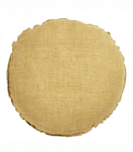 BEN Coussin rond diam. 63cm en lin changeant - Butternut - BED AND PHILOSOPHY