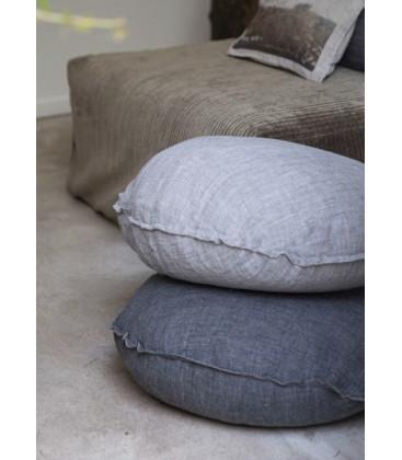 BEN Coussin rond diam. 63cm en lin changeant - Graphite - BED AND PHILOSOPHY