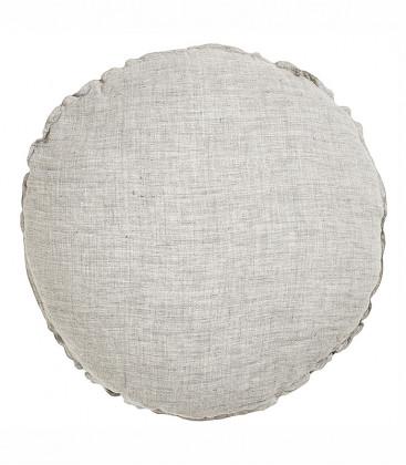 BEN Coussin rond diam. 63cm en lin changeant - Grey - BED AND PHILOSOPHY