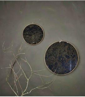 Kiko Oiled Decorative Mirror - Antique Brass - Small 0.5 x 24.5cm (dia) - NKUKU