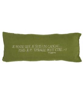 SMOOTHIE Coussin rectangulaire 30x70 en lin et message imprimé - Jungle