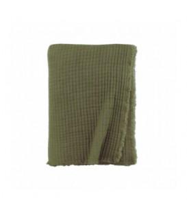 Plaid LOUISE gaze de coton molletonnée Kaki 130x170 cm - LA MAISON DE LILO