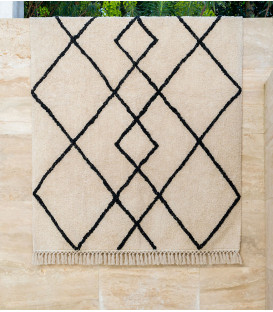 Tapis berbere Kasba en coton coloris Naturel - Impression Lin