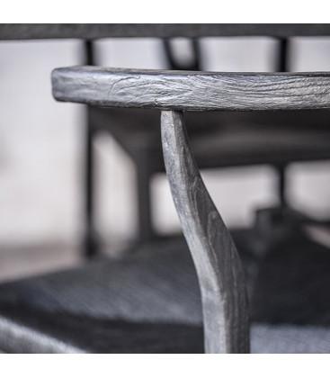 Chaise noire en teck et corde ROB - Dareels