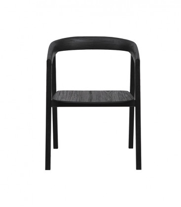 Chaise en teck ARC Noir - Dareels