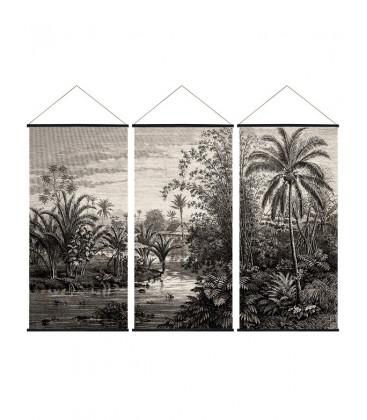 Déco Murale triptyque jungle noir et blanc - 3x61X122 - Red Cartel
